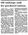 Oil Embargo Ends for Pro-Israel...