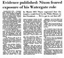 Evidence Published: Nixon Feared...