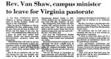 Rev. Van Shaw, Campus Minister to...