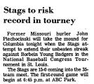 Stags to Risk Record in Tourney