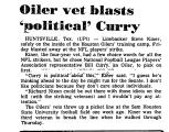 Oiler Vet Blasts 'Political' Curry