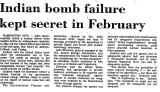 Indian Bomb Failure Kept Secret...