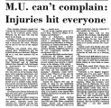 M.U. Can't Complain: Injuries Hit...