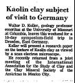 Kaolin Clay Subject of Visit to...