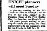 UNICEF Planners Will Meet Sunday