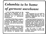 Columbia to be Home of Garment...