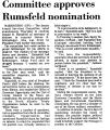 Committee Approves Rumsfeld...
