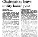 Chairman to Leave Utility Board...