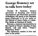 George Romney Set to Talk Bere...