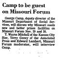 Camp to be Guest on Missouri Forum