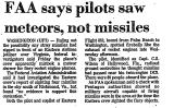 FAA Says Pilots Saw Meteors, Not...