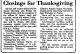 Closings for Thanksgiving