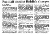 Football Cited in Riddick Charges