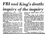 FBI and King's Death: Inquiry of...
