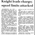 Knight Leads Charge; Squad Limits...