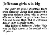 Jefferson Girls Win Big